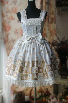 Printing Jumper Skirt Cotton Lolita Dresses Gold