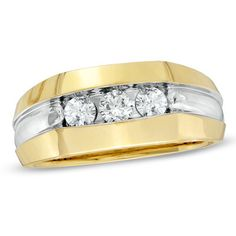 A captivating look for him this three stone ring is at home in both the boardroom and the ball field. Fashioned in 14K gold three shimmering diamonds totaling 12 ct. are aligned in a deeply cut grooved frame and polished to a bright buffed luster. This item is only available online.                                     View product details.                              #Fashion  #Jewelry