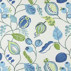 Zest 5 - denim blue - Decorator Fabrics Plants - myfabrics.co.uk