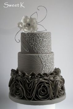 Grey and silver Vera Wang ruffle wedding cake