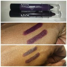 Swatches of NYX Simply Vamp Lip Creams in Temptress (top) and She Devil. Middle pic is with flash, bottom without. Temptress is a really dark violet and She Devil a dark burgundy. @makeupbykifana