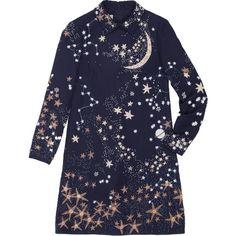 Valentino Dress (4 180 AUD) ❤ liked on Polyvore featuring dresses, longsleeve dress, blue embellished dress, long sleeve embellished dress, blue dress and long sleeve dress