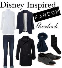Disney Inspired FANDOM EDITION - Sherlock Holmes (BBC)Helmut Langlong sleeve cotton shirt, $340 / James Jeanslightweight jeans/ GAPsocks/ rag & bonewingtip oxford, $440 /Faliero Sarti scarve, $455 /Firetrap Tractable - Long Melton Trench Jacket, $290