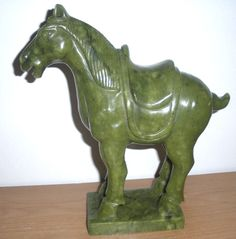"""Jade Horse Statue-Hand Crafted Jade Tang Horse Sculpture 9""""X9.5""""X2.75"""" 5.5LBS #HandCrafted"""