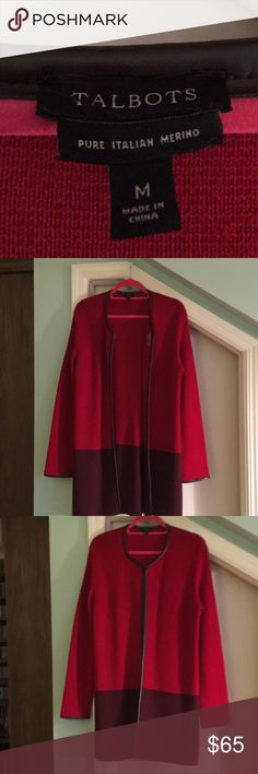 Talbots cardigan red w/faux brown leather trim Lovely, very gently used unlined long red knit cardigan with brown block print and brown faux leather trim. True to size.  Appropriate as business attire or for an evening out, or a crisp autumn walk. Talbots Sweaters Cardigans