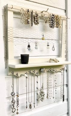 Wall mounted jewelry organizer and display - Wall mounted jewelry organizer and display image 0 Informations About Wall mounted jewelry organizer - Wall Mount Jewelry Organizer, Jewelry Wall, Diy Jewelry Holder, Jewelry Hanger, Etsy Jewelry, Jewelry Crafts, Earring Holders, Jewelry Armoire, Homemade Jewelry Organizer