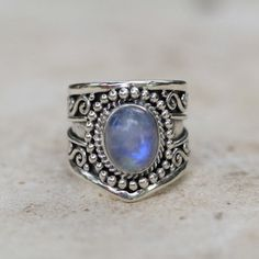 *** The best deals on wonderful jewelry at http://jewelrydealsnow.com/?a=jewelry_deals *** Boho Genuine Moonstone Silver Statement Ring