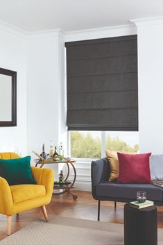 Décor Tip: For a classic look you can't go wrong with Roman Blinds. Unwaveringly popular for more than 2000 years, Roman Blinds are always in style.   Style. Value. Quality. Custom Made Blinds Delivered To Your Door. Save 70% OFF Brick & Mortar Store Prices.  #windowblinds #home #homeinspo #homedecor #homesweethome #interiorstyle #interiordesign #meblinds #romanblinds#mediaroomideas #livingroomdecor #officedecor #bathroominspo #homeofficeideas #contemporary #sophisticated #chic Black Blinds, Black Curtains, Shades Blinds, Interior Styling, Interior Decorating, Interior Design, Living Room Decor, Living Spaces, Blinds Online