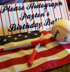 Baseball Theme guest book alternative- I definitely see a baseball/sports party in our near future for the little man :)