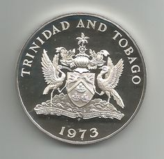 MOEDA DE PRATA DE TRINIDADE E TOBAGO - 5 DOLLARS - 1975 - IBIS - PROOF - FC
