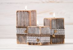 Rustic Wedding Centerpiece Ceremony Candles Wood Candle Holders Set of Three Burlap and Lace Wedding Decor Table Top Accessory on Etsy, $38.74