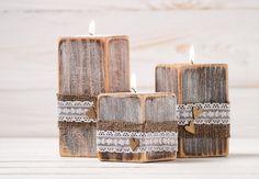 Rustic Wedding Wood Candle Holders Set of by HandmadeDecoupage, €27.43