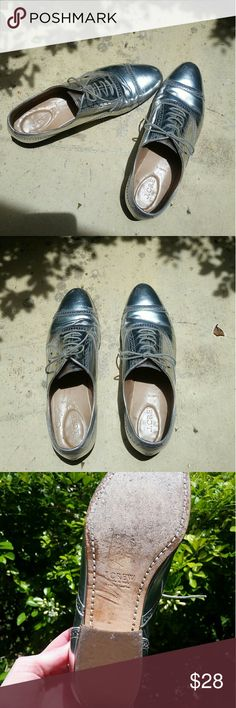 Metallic Silver J Crew Oxfords Gently used metallic silver shoes. Perfect for any outfit and to add alittle shine. J. Crew Shoes Flats & Loafers