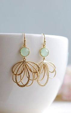 Gold Feather Pendant Mint Glass Jewel Earrings