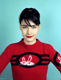 Kathleen Hanna and her bunny sweater