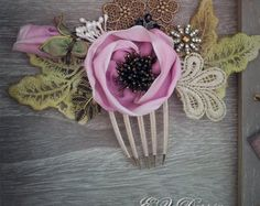 Vintage hair accessories. Decorative Applique . light lilac flowers. by ezdessin. Explore more products on http://ezdessin.etsy.com