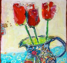 """Loteria Tulips, 12"""" x 12"""", mixed media on canvas, ©Kellie Day, available"""