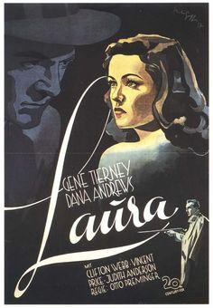 This film noir movie poster is so mesmerizing. Old Movie Posters, Classic Movie Posters, Cinema Posters, Laura Movie, Love Movie, Gene Tierney, Classic Film Noir, Classic Movies, Old Movies