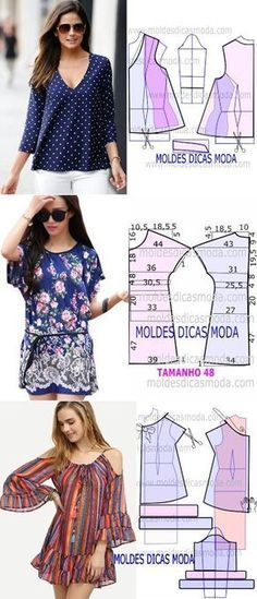 """How to sew blouses and dress. ♥ Deniz ♥ """"♥ moldes blusa♥ Más Clothing Patterns, how to cut and make beautiful blouses, via"""", """"Blue peasant blouse off Sewing Dress, Diy Dress, Blouse Patterns, Clothing Patterns, Sewing Patterns, Diy Fashion, Ideias Fashion, Robe Diy, Sewing Blouses"""