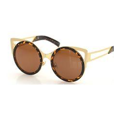 Round CAT eye sunglasses women vintage fashion METAL frame glasses female brand sunwear gafas OCULOS de sol feminino