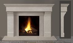 Fireplace Mantel Kits Improving Fireplaces for the Good Taste: Small Fireplace Mantel Kits In White And Grey Color In White On Grey Wall Painting Design Idea In Luxurious Living Room Design In Small Design IDea ~ popustnik.com Interior Design Inspiration