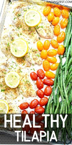 Healthy tilapia recipes are easy to make and oh so delicious! This tilapia sheet pan dinner only requires a few ingredients and makes for easy clean up! Naturally paleo and compliant! Paleo Tilapia Recipes, Best Tilapia Recipe, Healthy Tilapia, Seafood Recipes, Healthy Recipes, Cod Recipes, Fish Recipes, Healthy Meal Prep, Healthy Eating