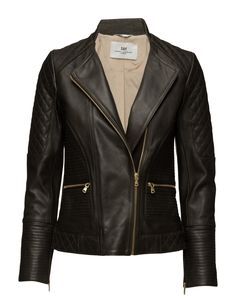 Women's black leather Jacket Asymmetric front zip closure Biker style Ribbed details Zip pockets Shaping seams Zip cuffs Made from high quality leather that becomes more beautiful with wear. Womens Black Leather Jacket, Biker Style, Cuffs, Day, Closure, Pockets, How To Wear, Shopping, Clothes