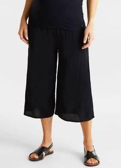 Esprit - Crepe Culottes Maternity Pads, Maternity Wear, Nursing Pads, Culotte Pants, Wide Leg Cropped Pants, Crepe Fabric, Workout Pants, Size Model, Stylish