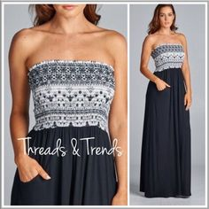 Black Maxi Dress Simply beautiful resort wear sleek maxi dresses. Featuring vintage print elastic tube top bodice and two front pockets. In color blue or black. Great all around summer wardrobe staple. Pair with sandals or heals. Made of rayon and spandex. A line Threads & Trends Dresses Maxi