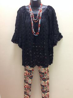 Check out the cut outs in this adorable tunic. Great with the tribal one size fits all leggings! Adorable for Fall!