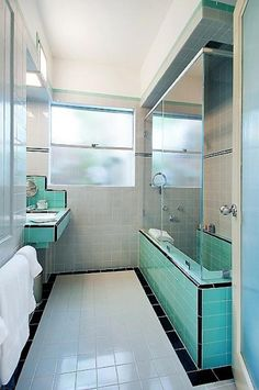 1930s Bathroom, Los Angeles Apartment by William Kesling. Uses both subway and square tile.