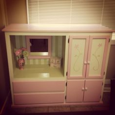 Up-cycled tv cabinet into children's vanity/wardrobe