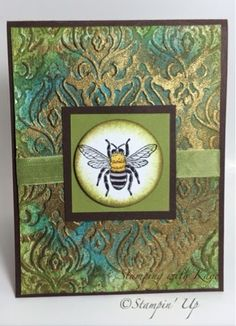 hand crafted card from Stamping with Kaye ... luv the background: baroque embossing folder, sponged colors and random gold embossing ...  Stampin' Up!