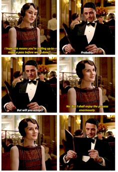 "♢downton abbey ♢mary crawley ♢michelle dockery ♢henry talbot ♢matthew goode ♢s6 ♢spoilers ♢604 ..  ""I hope this means your boiling up to make a pass before we're done?"" .."