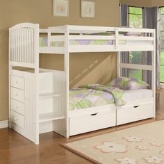 Powell Angelica Arch Spindle Chest End Step Twin-over-Twin Bunk Bed