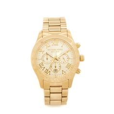 Michael Kors Layton Chronograph Watch ($250) ❤ liked on Polyvore featuring jewelry, watches, gold, snap jewelry, chrono watch, yellow gold watches, michael kors jewelry and water resistant watches