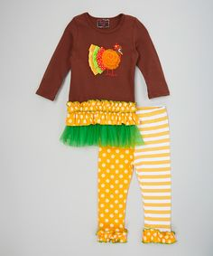 Another great find on #zulily! Royal Gem Brown & Yellow Turkey Tunic & Leggings - Kids & Tween by Royal Gem #zulilyfinds