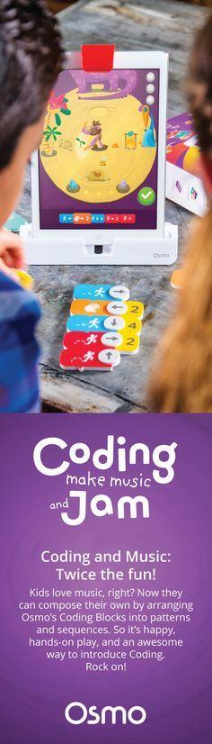Arrange Osmo coding blocks to compose music,