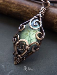 *amulet?  fantasy magic jewelry wire wrapped pendant with green labradorite