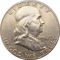 """1963 Ben Franklin Half Dollar~Of the 22 million 1963 Silver Ben Franklin Half Dollars issued just 3.07 million proofs were issued. Proofs are selling for somewhere between $15 and $23 dollars. This was the final year for the Ben Franklin Half Dollars. No mint mark, Face Value: 0.50 USD Total Produced: 22,164,000 [?]  Silver Content: 90%  Silver Weight: .3617 oz.  As a rough estimate of this coins value in poor condition will be  around $12, while one in """"perfect"""" condition can bring $35."""