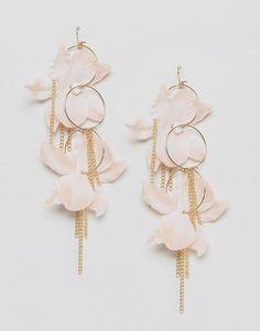 Imagen 1 de Pendientes de aro con flor de tela de ASOS