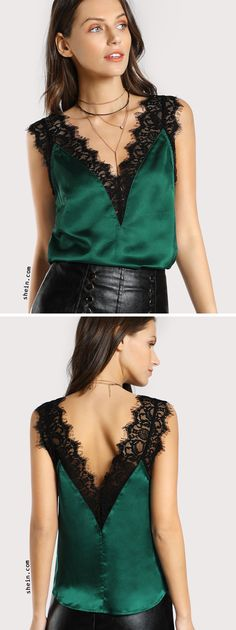 Lace Trim Double V Neck Satin Top Source by ammietwila blouses patterns Top Fashion, Fashion Details, Fashion Beauty, Womens Fashion, Fashion Design, Plus Size Khaki Pants, Satin Top, Blouse Patterns, Sewing Patterns
