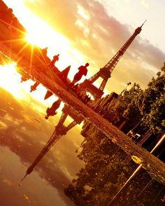 The Eiffel Towers Mirror Water & Sunset