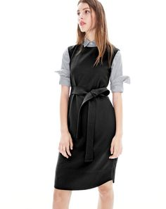 DEC '15 Style Guide: J.Crew women's sleeveless belted dress in crepe and boy shirt in striped poplin.
