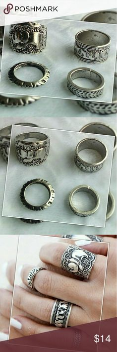 4 Piece Ring Set NWT. 4 piece vintage style unique carved elephant BOHO rings Jewelry Rings
