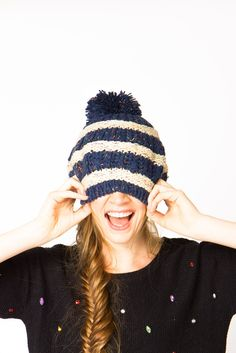 Striped Pom Pom Beanie--and a pretty fishtail braid Knit Crochet, Crochet Hats, Beautiful Buns, Love Hat, Fall Trends, Autumn Winter Fashion, Fall Fashion, Fishtail, Knitted Hats