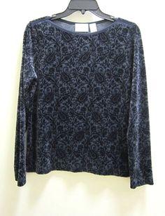 Liz Claiborne Liz & CO Blue Long Sleeve Sweater Top Womens Size Small Wide Neck #LizCo #LongSleeveShirt #CasualDressWork