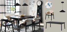 TRANETORP svart uttrekkbart bord med 4–6 sitteplasser og ESBJÖRN svarte stoler med stoltrekk