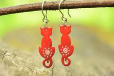 Quirky Cat Earrings Red Cat Enamel Earrings by CinkyLinky on Etsy