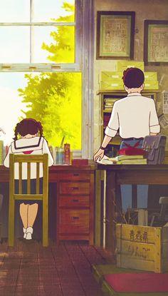 Studio Ghibli's From Up on Poppy Hill Studio Ghibli Art, Studio Ghibli Movies, Anime Scenery Wallpaper, Cartoon Wallpaper, Couple Wallpaper, Hayao Miyazaki, Totoro, Animes Wallpapers, Cute Wallpapers